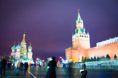 Red square. Sometimes red square night New Year's Eve Stock Images