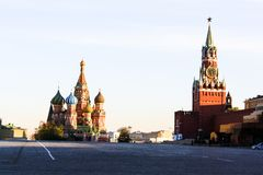 Red Square and St. Basil`s Cathedral stock photography