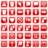 Red Square Stickers Icons [2]. Set of 36 website and application stickers icons isolated on white background. Red Square Stickers Icons – Part 2: there are 144 Stock Images