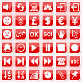 Red Square Stickers Icons [3]. Set of 36 website and application stickers icons isolated on white background. Red Square Stickers Icons – Part 3: there are 144 Stock Images