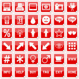 Red Square Stickers Icons [4]. Set of 36 website and application stickers icons isolated on white background. Red Square Stickers Icons – Part 4: there are 144 Stock Images
