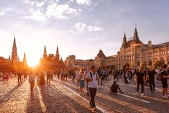 Red Square at sunset. Foreign fans of the World Cup 2018 on Red Square. Royalty Free Stock Images