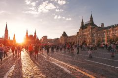 Red Square at sunset. Foreign fans of the World Cup 2018 on Red Square. Stock Image