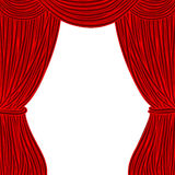 Red square theater curtain  on white background Stock Photos