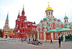 Red Square view from Nikolskaya street. Going to Red Sqaure from  Nikolskaya street, seeing Kazan cathedral, Historical museum and Nikolskaya tower Royalty Free Stock Image