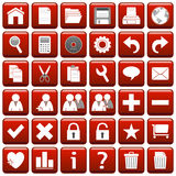 Red Square Web Buttons [1]. 36 website and application square buttons isolated on white background. Each button is 750x750 pixels. Red Square Web Buttons – Royalty Free Stock Photography