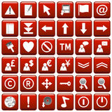 Red Square Web Buttons [2]. 36 website and application square buttons isolated on white background. Each button is 750x750 pixels. Red Square Web Buttons – Stock Image