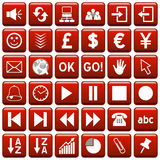 Red Square Web Buttons [3]. 36 website and application square buttons isolated on white background. Each button is 750x750 pixels. Red Square Web Buttons – Royalty Free Stock Image
