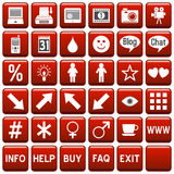 Red Square Web Buttons [4]. 36 website and application square buttons isolated on white background. Each button is 750x750 pixels. Red Square Web Buttons – stock illustration