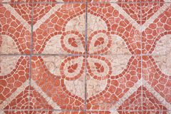 Red squared paving tiles isolated, top view.  Sidewalk pavement pattern. stock photo
