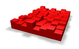 Red squares. Layer with red squares on white background - 3d illustration vector illustration
