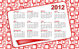 Red Squares 2012 Calendar. 2012 calendar with red squares 60s style background royalty free illustration