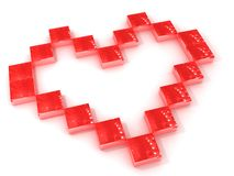 Red squares forming love heart. Close up of small red squares forming love heart shape, isolated on white background Royalty Free Stock Photography
