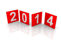 Red squares with new 2014 year numbers Stock Photography