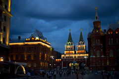 Red squire entrance in Moscow, Russia. Red squire entrance at night Moscow, Russia Stock Image
