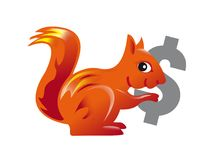 Red squirrel carrying a dollar symbol Stock Image