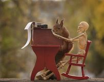 Squirrel with skeleton  with typewriter Stock Photography