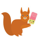 Red squirrel with strawberry-pistachio ice cream, ice lolly Kawaii with pink cheeks and winking eyes, pastel colors on white backg Stock Image