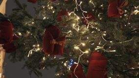 Red squirrel toys and white light garland on christmas tree outdoors stock video