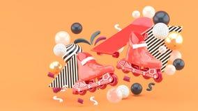 Red sroller skates and red skateboard amidst colorful balls on an orange background. 3d render stock illustration