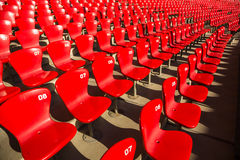 Red stadium chairs Royalty Free Stock Photo