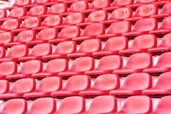 Red stadium seats Stock Photo