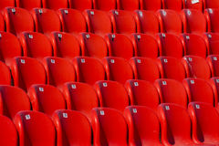 Red stadium seats. Empty red plastic seats in a stadium Royalty Free Stock Image