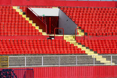 Red stadium seats. Empty red plastic seats in a stadium Royalty Free Stock Photography