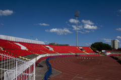 Red stadium seats. Empty red plastic seats in a stadium Royalty Free Stock Photos