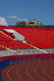Red stadium seats. Empty red plastic seats in a stadium Stock Images