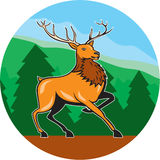 Red Stag Deer Side Marching Circle Cartoon Royalty Free Stock Image