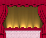 Red stage. Red theatre with yellow lights decorating the stage with bright light Royalty Free Stock Photo