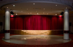 Red stage. Curtain with light and shadow stock photo