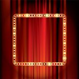 Red stage bulb frame Stock Photography