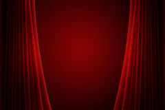 Red stage curtain. With spotlight vector illustration