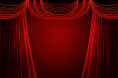 Red stage curtain. With spotlight Royalty Free Stock Image
