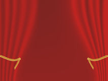 Red stage curtain. Red velvet stage curtains opening Stock Photos