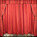 Red stage curtain. Used red stage curtain with light and shadow stock photos