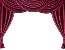 Red stage curtain. Isolated on white Royalty Free Stock Images