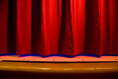 Red Stage Curtain. Closed hanging broadway stage curtain Royalty Free Stock Photography