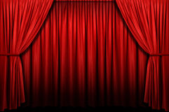 Red Stage Curtain. With arch light and shadow Royalty Free Stock Photos