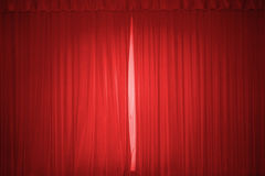 Red stage curtain. With lights Stock Image