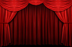 Red Stage Curtain. With arch entrance Royalty Free Stock Photo