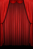 Red Stage Curtain. Red vertical stage curtain with lights and shadows Stock Photography