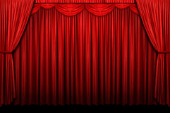 Red Stage Curtain. With arch entrance Stock Photos