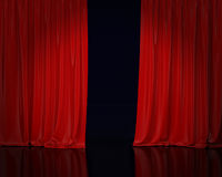 Red stage curtain, background. Red stage opened curtain and black floor with reflection, background Stock Image