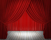 Red stage curtain, background Stock Photo