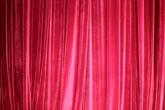 Red stage curtain closed Stock Photo