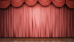 Red stage curtain closing. stock footage