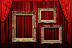 Red Stage Curtain With Gold Frames Royalty Free Stock Photography